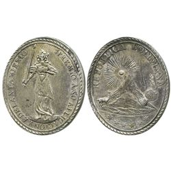 Potosi, Bolivia, oval silver medal (academic award, 1800s).