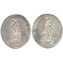 Potosi, Bolivia, oval silver medal, Indian citizen award (1800s).