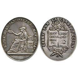 Potosi, Bolivia, oval silver medal, Constitution (1800s).