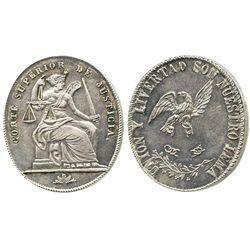 Potosi, Bolivia, oval silver medal, Superior Court (1800s).