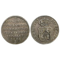 Colombia, silver proclamation medal, Ferdinand VII, 1808.