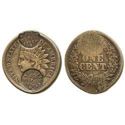 Costa Rica (San Miguel), copper 1c merchant token (ca. 1870s), two countermarks of HABILITADO / POR