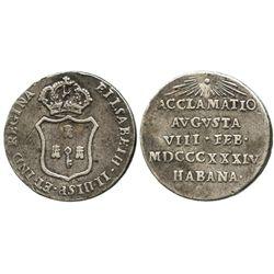 Cuba (under Spain), small silver 1R-sized proclamation medal, Isabel II, 1834, Havana.