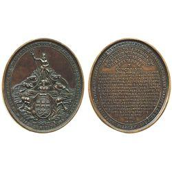 Cuba (under Spain), large bronze medal, Isabel II, 1858, inauguration of Havana Water Works.