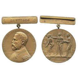 Santiago, Cuba, bronze medal with bar at top, 1898, U.S. Naval Campaign West Indies (Spanish America
