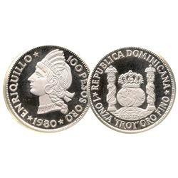 Dominican Republic, proof pattern of gold 100 pesos, 1980, in silver (piedfort), rare.