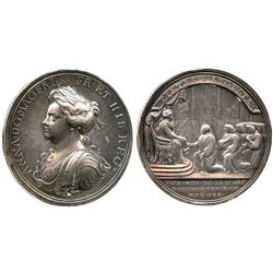 Great Britain, silver medal, Anne, 1704, first grant to Church (Croker).