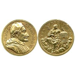 Italy (Papal States), gilt-bronze medal, Pope Innocent XI, year 6 (1681), State of Religion, by Bene