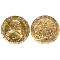 Guanajuato, Mexico, gilt bronze proclamation medal, Charles IV, 1790, Los Mineros.