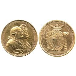 Guanajuato, Mexico, gilt bronze proclamation medal, Charles IV and Queen Luisa, 1790, Marques de San