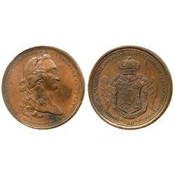 Orizaba, Mexico, bronze proclamation medal, Charles IV, 1790.