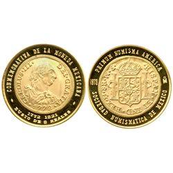 Mexico, gold medal, 1973, Sociedad Numismatica de Mexico, first bust 8R, historic coins series #5.