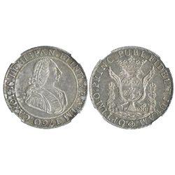 Lima, Peru, silver 17.12-gram proclamation medal, Charles III, 1760, encapsulated NGC AU 58.