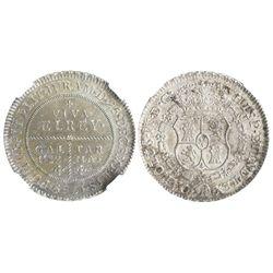 Tarma (Galuez), Peru, silver 8R-sized proclamation medal, Charles IV, 1789, encapsulated NGC MS 61.