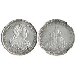 Huancavelica, Peru, silver 8R-sized proclamation medal, Charles IV, 1790, encapsulated NGC AU 55.
