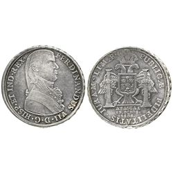 Lima, Peru, silver 8R-sized proclamation medal, Ferdinand VII, 1808, (Viceroy) Abascal.