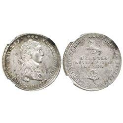 Tarma (Urrutia), Peru, silver 4R-sized proclamation medal, Ferdinand VII, 1808, encapsulated NGC MS