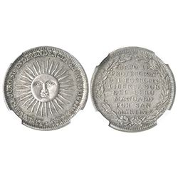 Lima, Peru, silver 1/2 peso-sized medal, dated 1821, San Martin (1850s), encapsulated NGC MS 63.