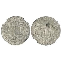 "Lima, Peru, silver ""6-reales"" medal, 1826, President Bolivar, encapsulated NGC MS 62."