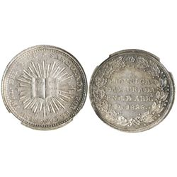 Peru, silver 1/2 peso-sized medal, 1828, congressional approval of Constitution, encapsulated NGC MS