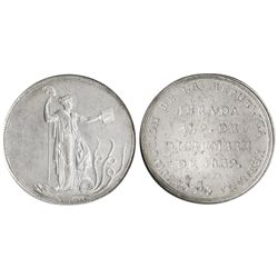 Peru, large silver 1-1/2 peso-sized medal, 1839, Constitution proclamation, encapsulated NGC MS 63.