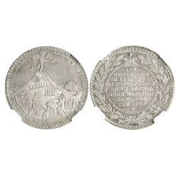 Cuzco (Ancachs), Peru, silver 4R-sized medal, 1839, Battle of Yungay, encapsulated NGC MS 62.