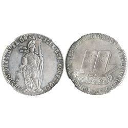 Peru, silver peso-sized medal, 1852, new laws under President Rufino Echenique, encapsulated NGC AU