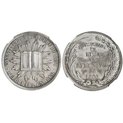 """Lima, Peru, silver """"6 reales""""-sized medal, 1860, Constitutional reform, encapsulated NGC MS 62."""