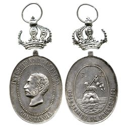 Puerto Rico (under Spain), oval silver military medal (with crown bale from top, separated), Alfonso