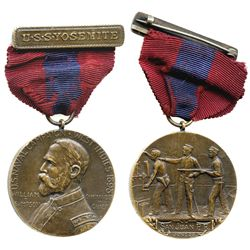 San Juan, Puerto Rico, bronze medal with red-and-blue ribbon, 1898, U.S. Naval Campaign West Indies