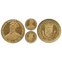 Puerto Rico, miniature gold medal, 1971, 450th anniversary of the transfer of the city of San Juan t