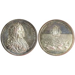 Turks and Caicos Islands, silver restrike (ca. 1970) of the British Phipps medal of 1687.