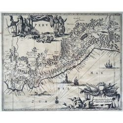 Large, copperplate Dutch map of Peru by Jan Jansson (1640).