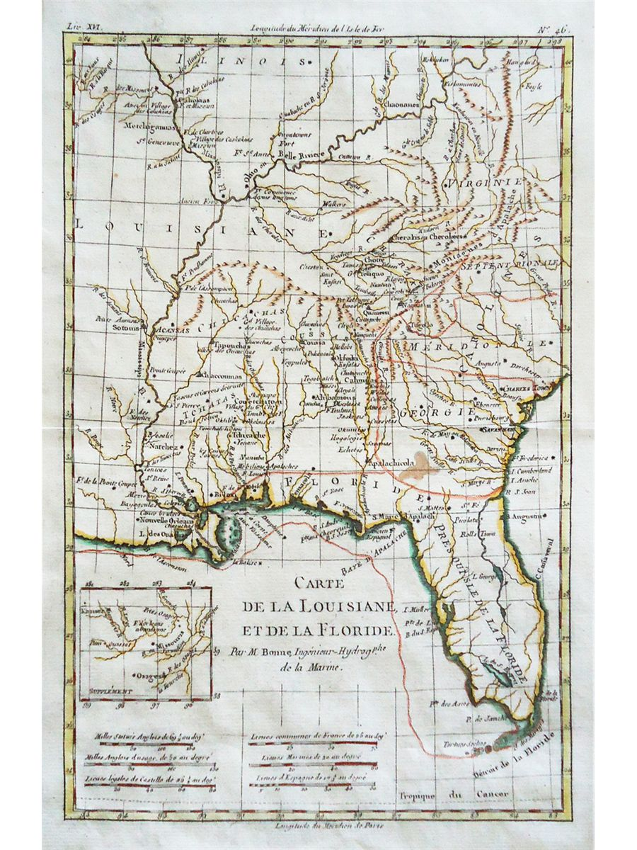 Hand-colored, copperplate French map (ca. 1770) of Florida and the  southeastern corner of what is no