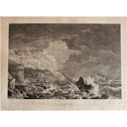 """Large, copperplate French engraving """"Naufrage"""" by Jean-Jacques Avril (1775) after Claude-Joseph Vern"""