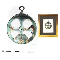 Framed, matted, full-color drawing of the Concepcion (1641) astrolabe by Duke Long (ca. 1980).