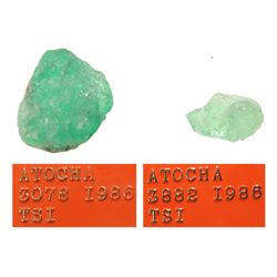 Lot of 2 light-green natural emeralds #LE0117 and LE0917, 5.09 and 1.09 carats respectively.