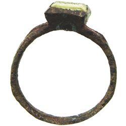 Base-metal ring (ladies') with non-precious stone, size 4.