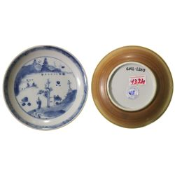 Chinese blue-on-white porcelain saucer, Kangxi period, man and bay design.