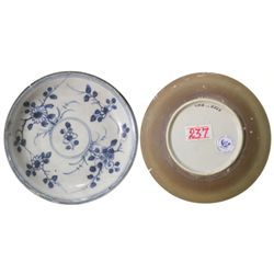 Chinese blue-on-white porcelain saucer, Kangxi period, floral design.