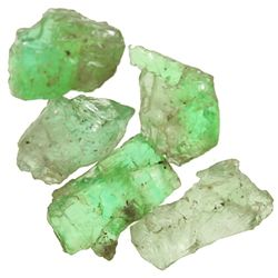 Lot of 5 natural emeralds of 1-2 carats each.