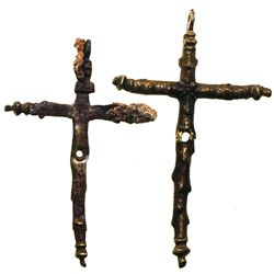 Lot of 2 small, brass crucifixes (intact), one with small areas of encrustation.
