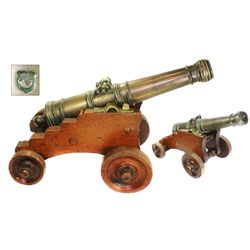Bronze signal cannon, Dutch, ca. 1680, on wooden carriage.