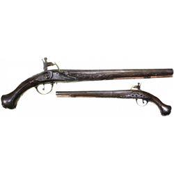 Ornate flintlock pistol, European, ca. 1750s.