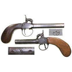 Lot of 2 English boxlock pistols, ca. 1820, unmatched but similar.