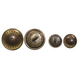 Lot of 2 brass military uniform buttons for the Voluntarios of Puerto Rico (1880s).