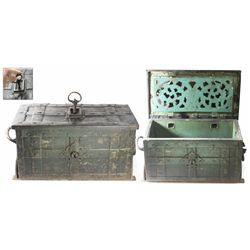 """Small iron """"armada"""" chest with original key, Spanish or Portuguese, ca. 1650, found in the Bahamas,"""