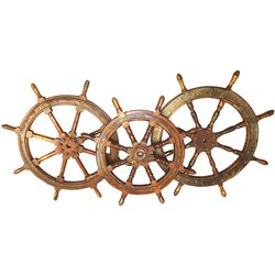 Lot of 3 large, wood ships' wheels, probably late 1800s to early 1900s.