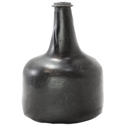 "English ""black"" glass horse-hoof onion bottle, ca. 1720s-1740s."
