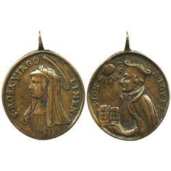 Bronze religious medallion of the virgin Santa Rosa de Lima, ca. 1720s.